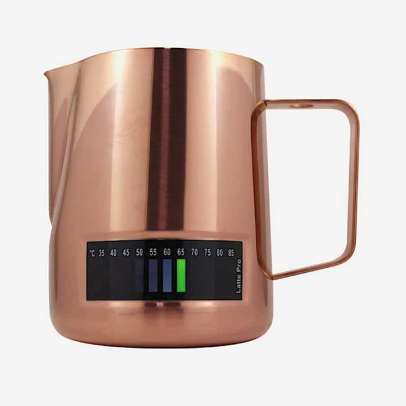 4. Andronicas Latte Pro Stainless Steel Milk Jug with Thermometer