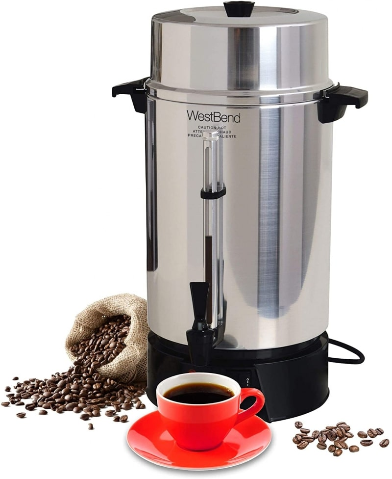 10. West Bend Highly Polished Aluminum Commercial Coffee Urn