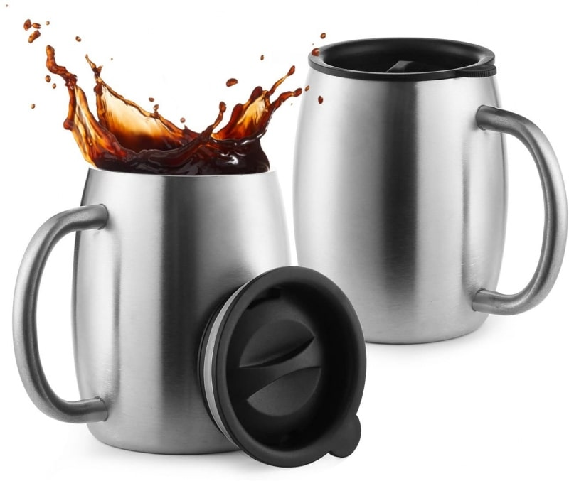 1. Laxinis Stainless Steel Coffee Mugs with Spill Resistant Lids