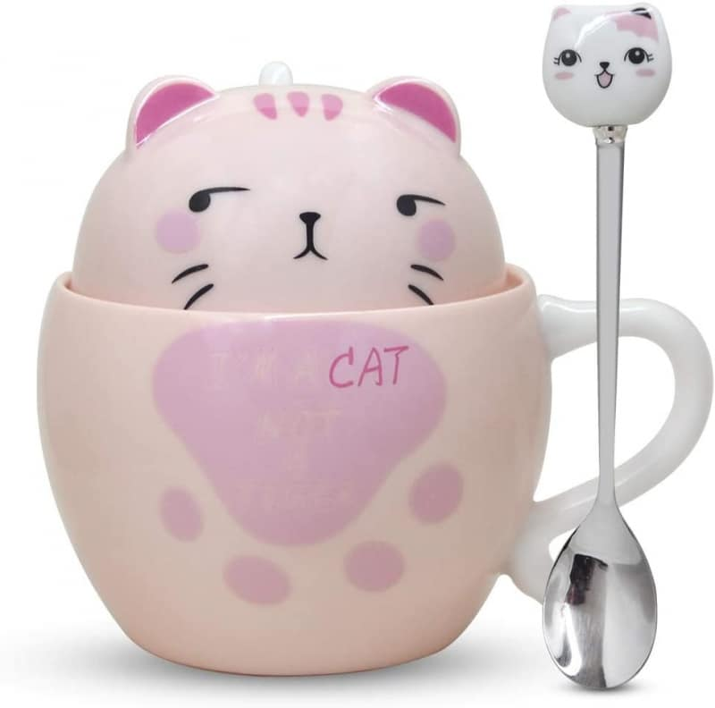 6. Notrefly Cat Mug With Lid And Lovely Stainless Steel Spoon