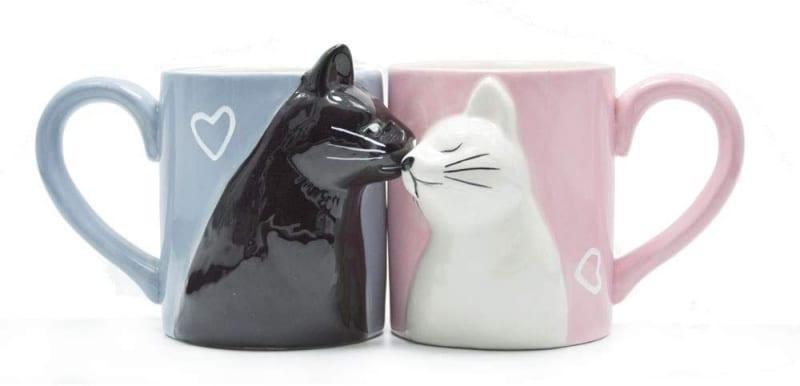 5. Kiss Cat Coffee Couple Handmade Mug