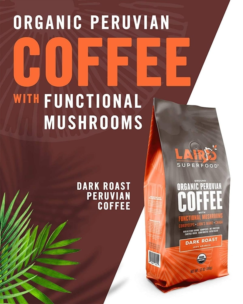 12. Laird Superfood Dark Roast Coffee with Functional Mushrooms