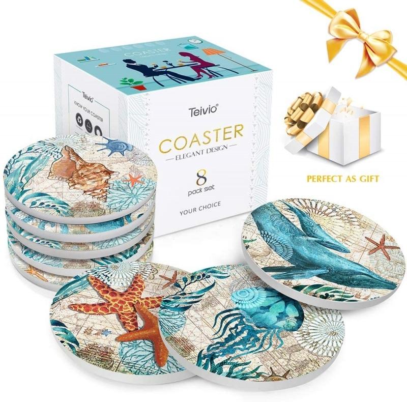 4. Teivio Store Ocean Life Coasters