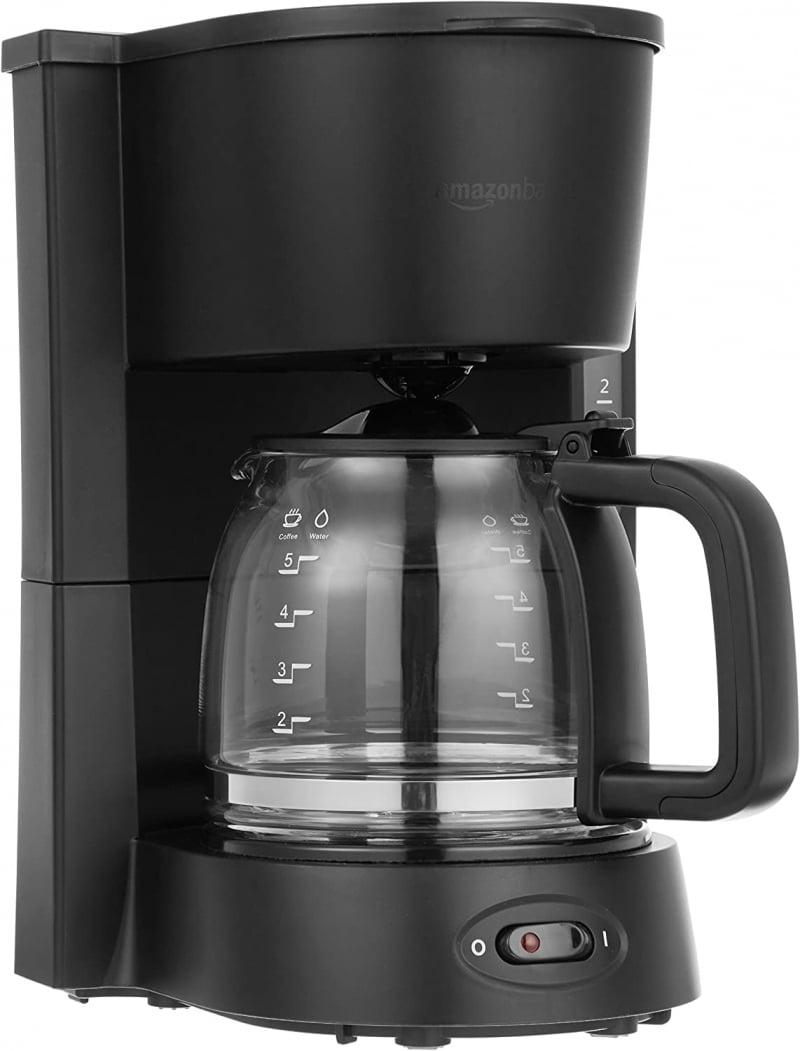 5. Amazon Basics 5 Cup Drip Coffeemaker with Glass Carafe