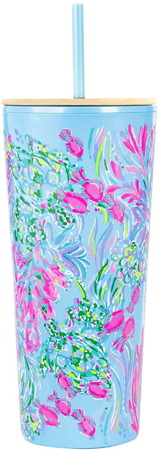 5. Lilly Pulitzer Pink/Blue Double Wall Tumbler