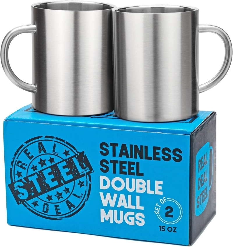 6. Real Deal Stainless Steel Double Wall Mugs