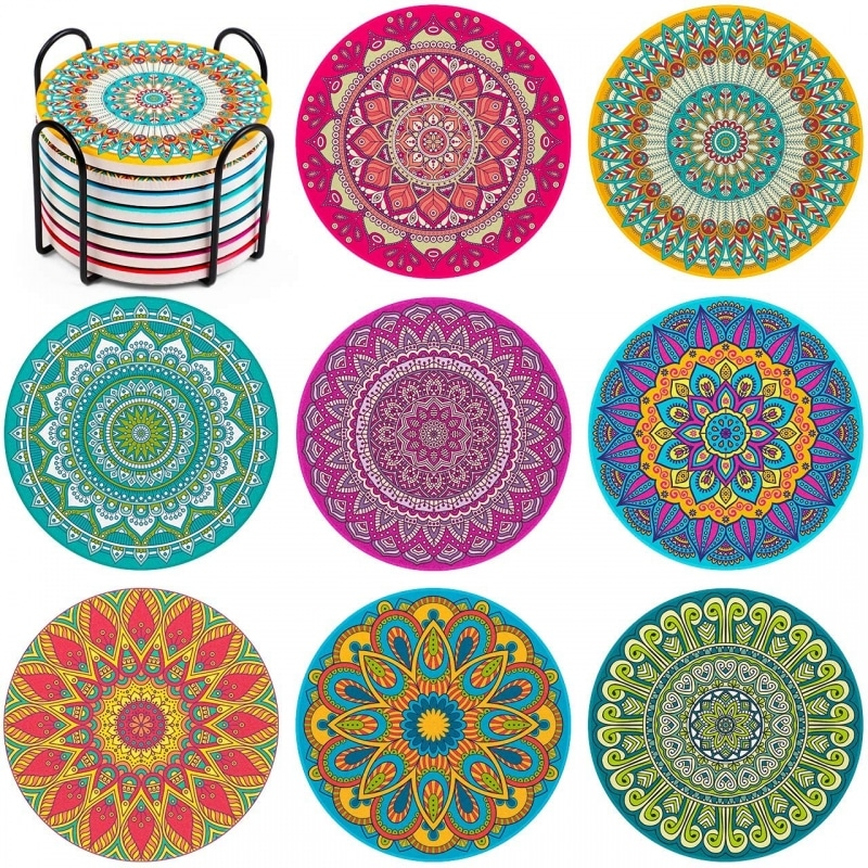 6.  InnoGear Colorful Round Coasters