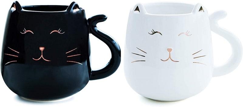 10. Kafil Ceramic Cat Coffee Mug Set