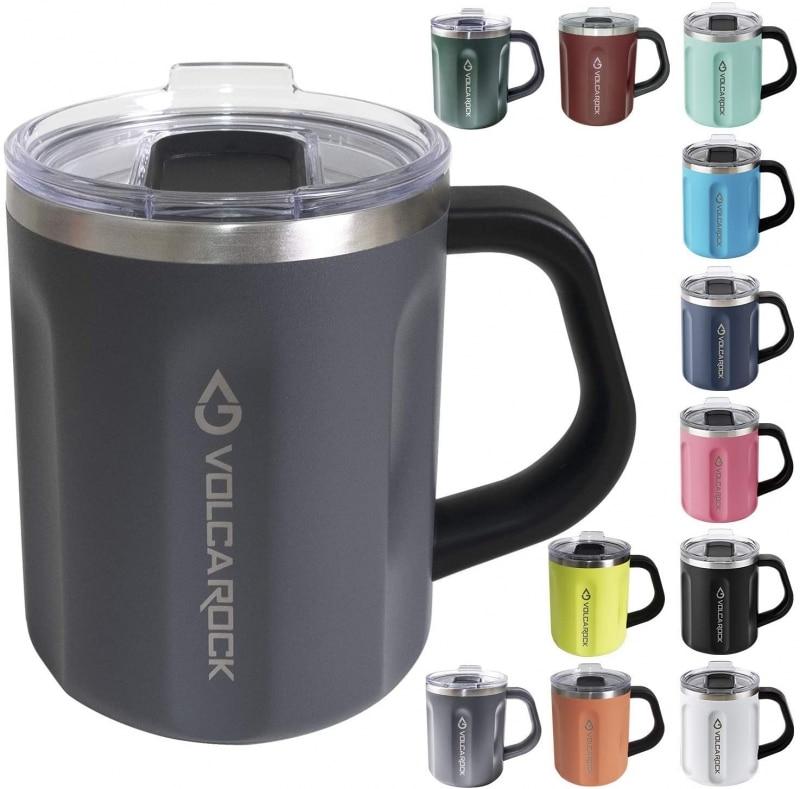 5. VOLCAROCK Stainless Steel Coffee Mug with Handle