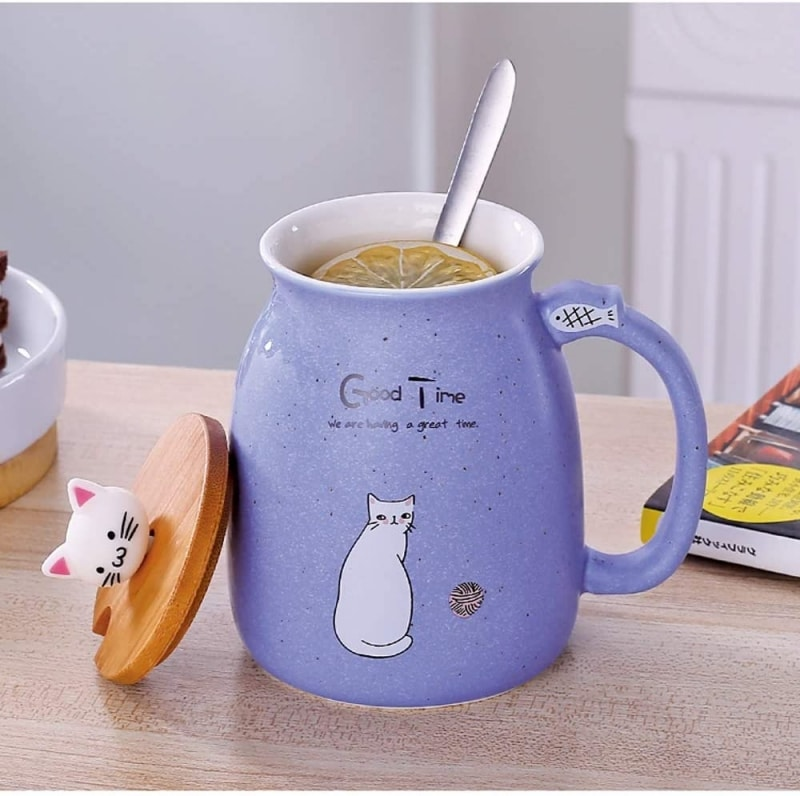 9. Cat Cute Ceramic Coffee Cup