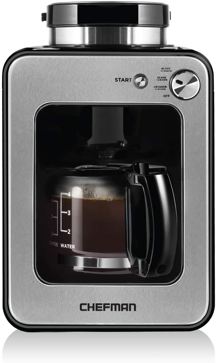 7. Chefman Grind and Brew 4 Cup Coffee Maker