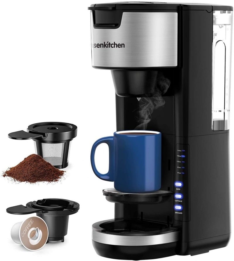 8. Bonsenkitchen Coffee Maker For K Cup Pod & Coffee Ground