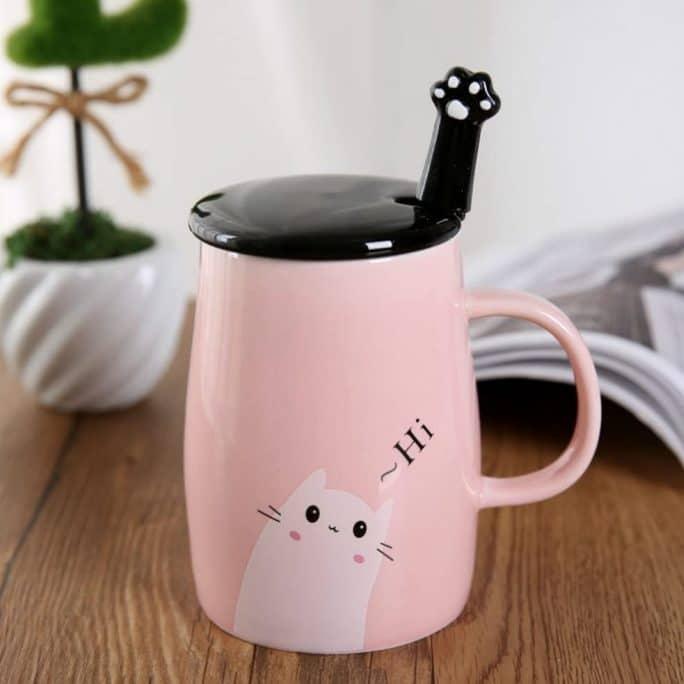 8. Angelice Home Pink Cute Cat Mug