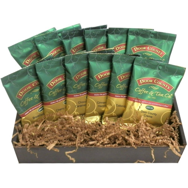 8. Door County Coffee Best Sellers Classic Decaf 12-Pack Gift Set