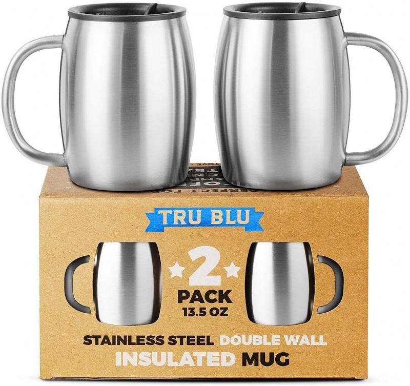 8. Tru Blu Stainless Steel Coffee Mug with Lids