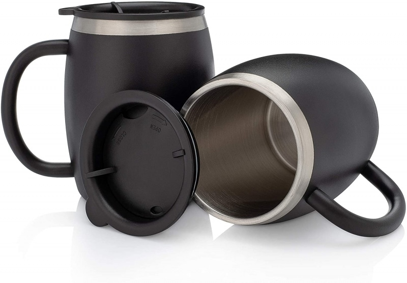 2. Avito Stainless Steel Coffee Mugs with Lids