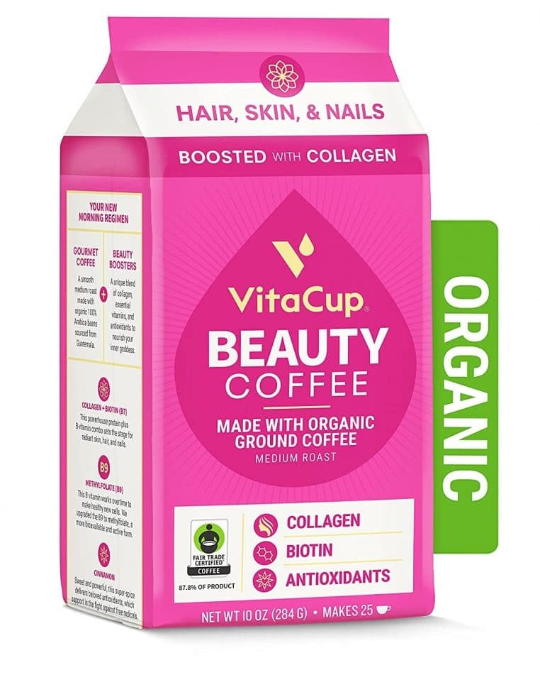1. VitaCup Organic Beauty Ground Coffee with Collagen, Biotin, and Vitamin B for Drip Coffee Brewers and French Press, Fair Trade