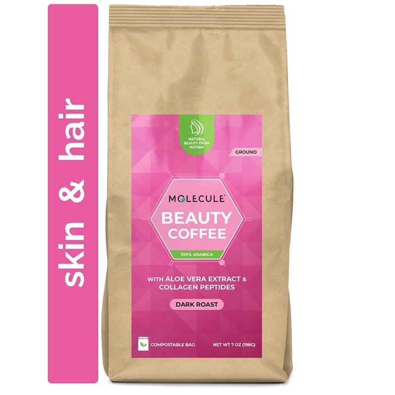 2. Beauty Ground Coffee by Molecule, Dark Roast, Single Origin, Arabica with Aloe Vera Extract & Collagen Peptides