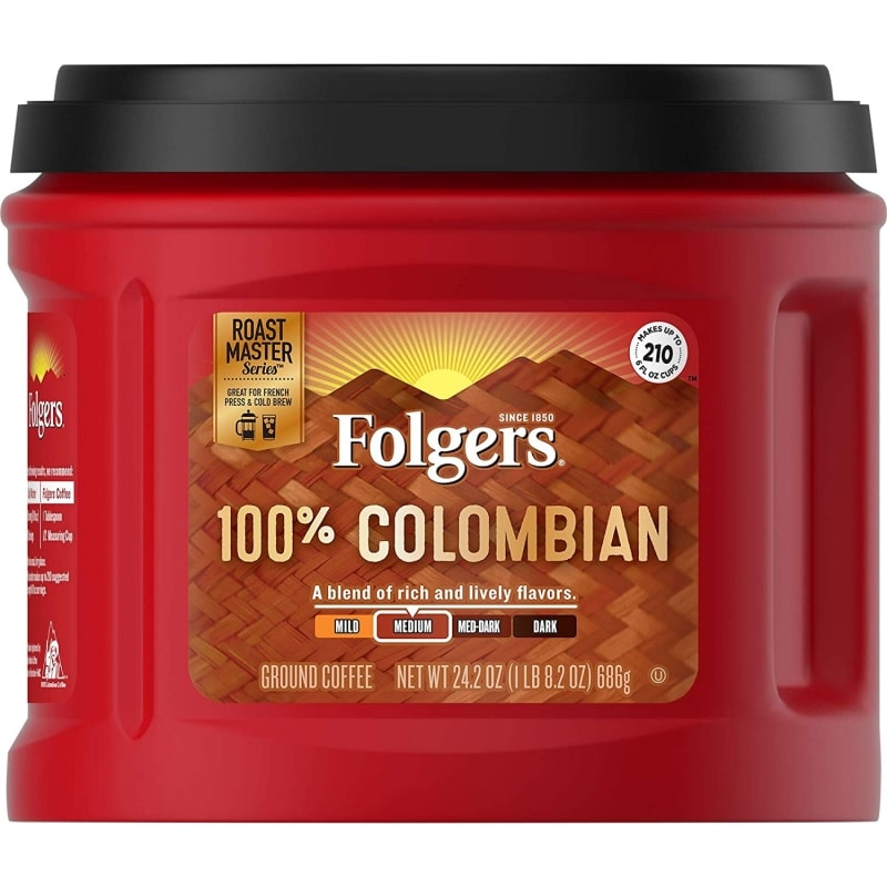 10. Folgers 100% Colombian Ground Coffee