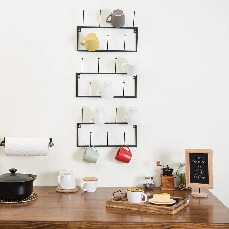 3. MyGift Set of 3 Black Metal Wall-Mounted Coffee Mug