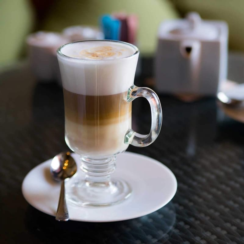 10. LavoHome Thick Wall Glass Footed Irish Coffee Mugs