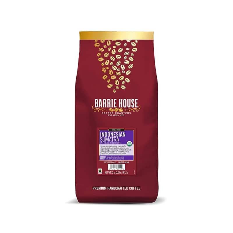 10.Barrie House Indonesian Sumatra Single Origin Whole Bean Coffee