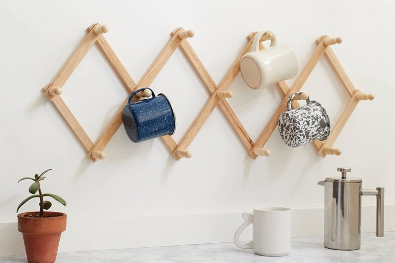2. Fox Run Expanding Beechwood Coffee Mug Wall Rack