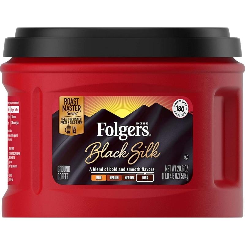 12. Folgers Black Silk Dark Roast Ground Coffee