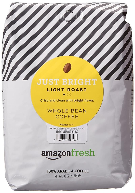 14. AmazonFresh Just Bright Whole Bean Coffee