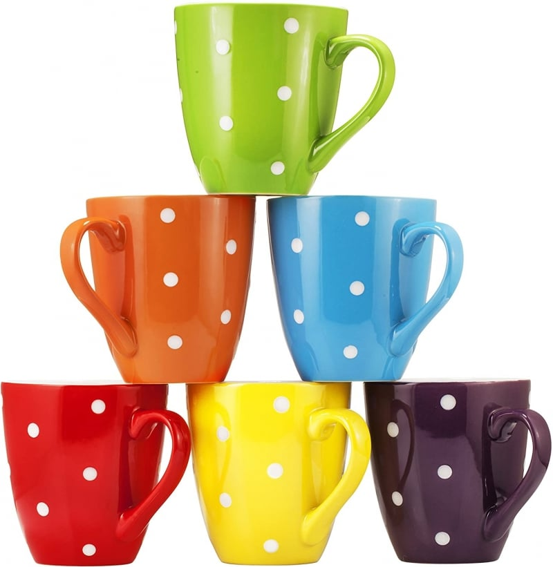 14. Colorful Bruntmor Mugs Set with Polka Dots