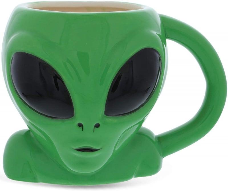 11. Mugniv Green Alien Cartoon Novelty Mug