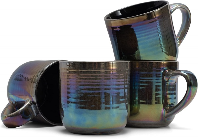 2. Shiny Rainbow Stoneware Elanze Designs Coffee Mugs Set