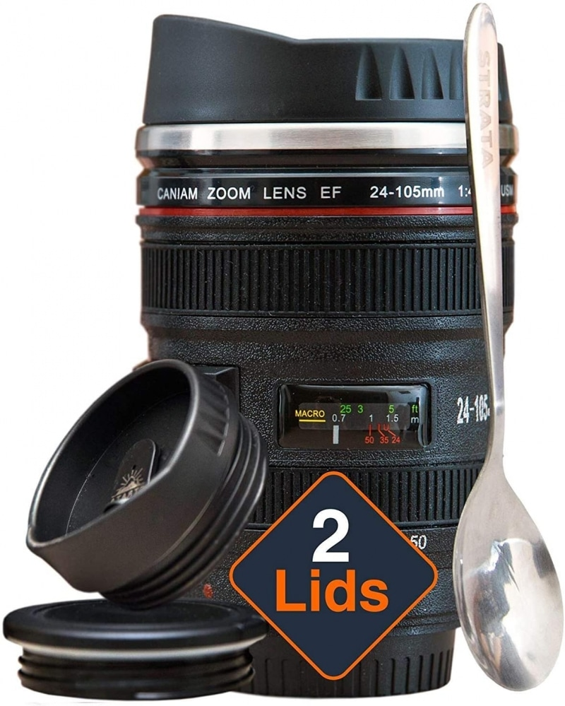 5. STRATA CUPS Camera Lens Coffee Mug