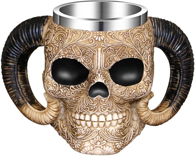 1. Stainless Steel Double Handle Horn Skull Mug