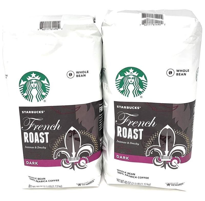4. 2 Packs of 40 Oz Starbucks French Roast Whole Bean Coffee