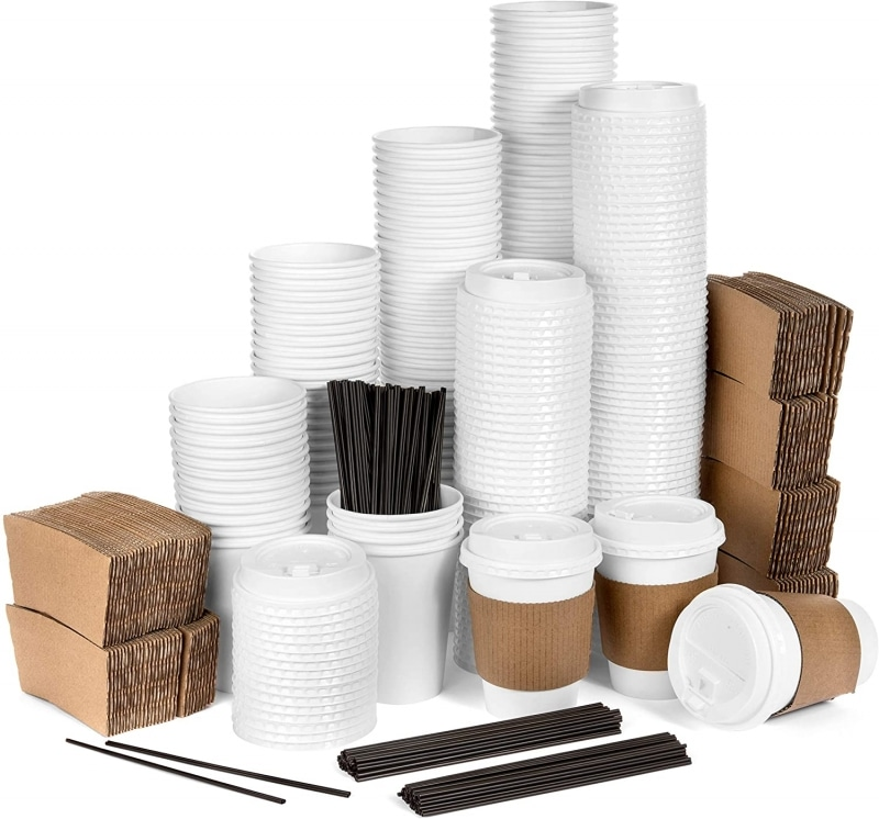 4. Average Joe Disposable Paper Coffee Cups with Lids