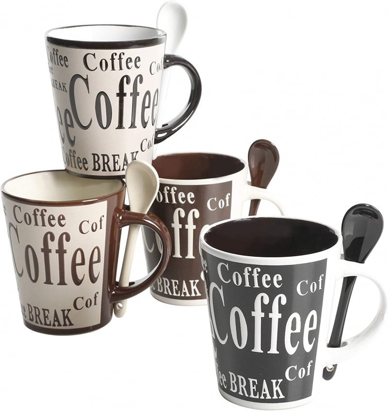 4. Mr. Coffee Bareggaio 8 Pieces Mugs and Spoons Set
