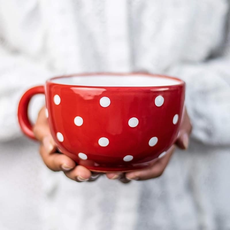 5. Handmade Ceramic Designer Red and White Polka Dot Cup