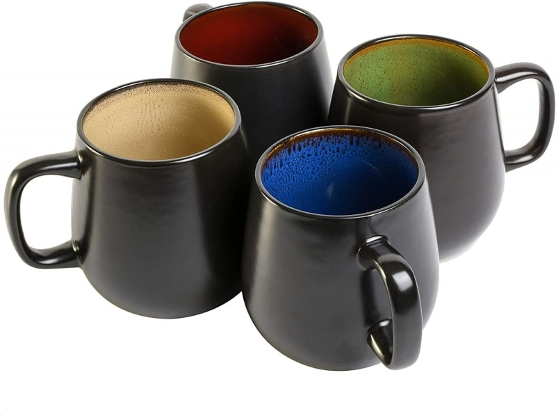 5. Red, Green, Taupe, Blue Gibson Elite Soho Mugs Set of 4