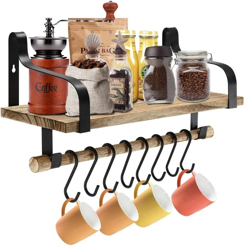 6. Coffee Mug Organizer With 8 Paulownia Wood