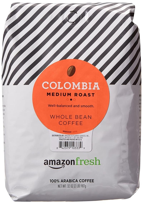 6. AmazonFresh Colombia Whole Bean Coffee