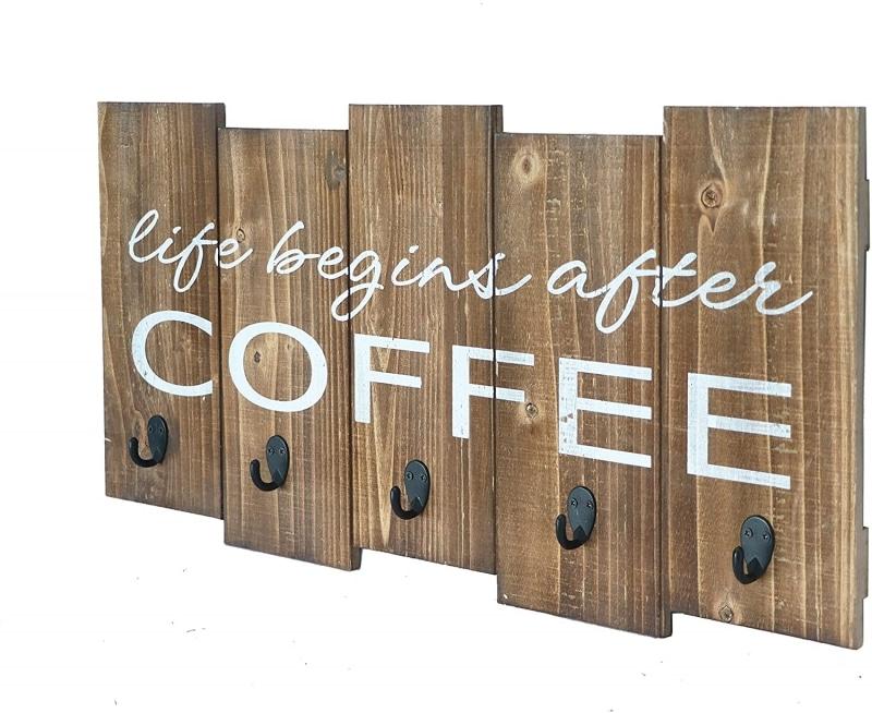 7. Barnyard Designs 'Life Begins After Coffee' Hanging Mug Holder
