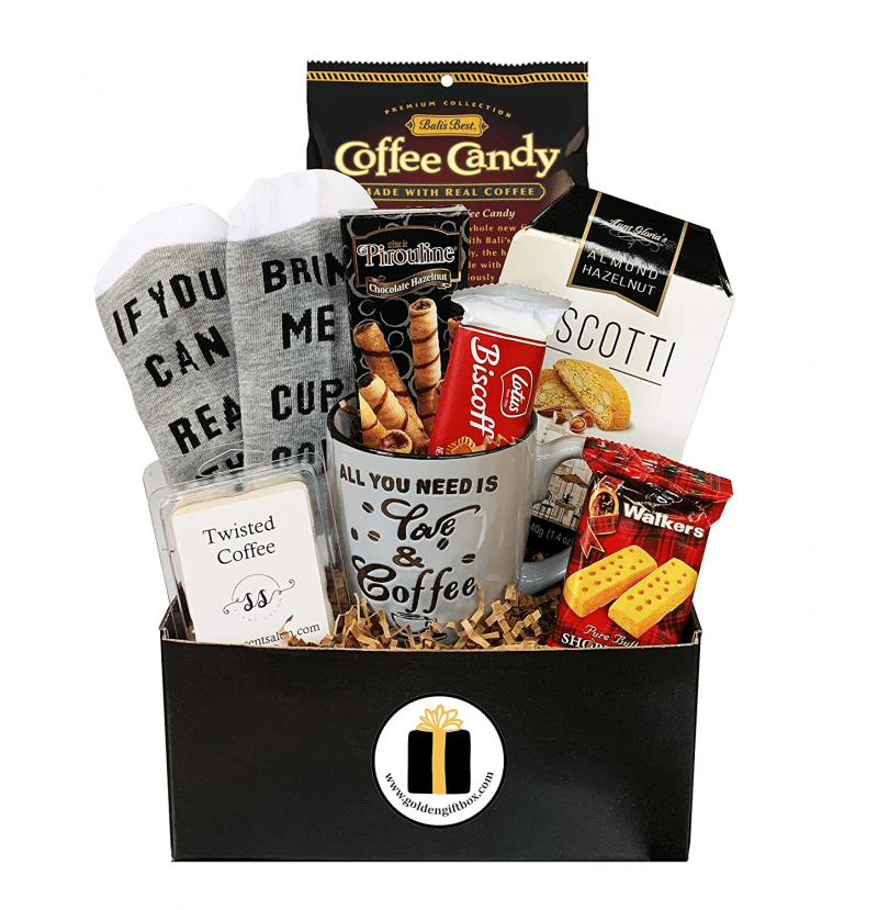 7. Golden Gift Box of Gourmet Coffee Snacks