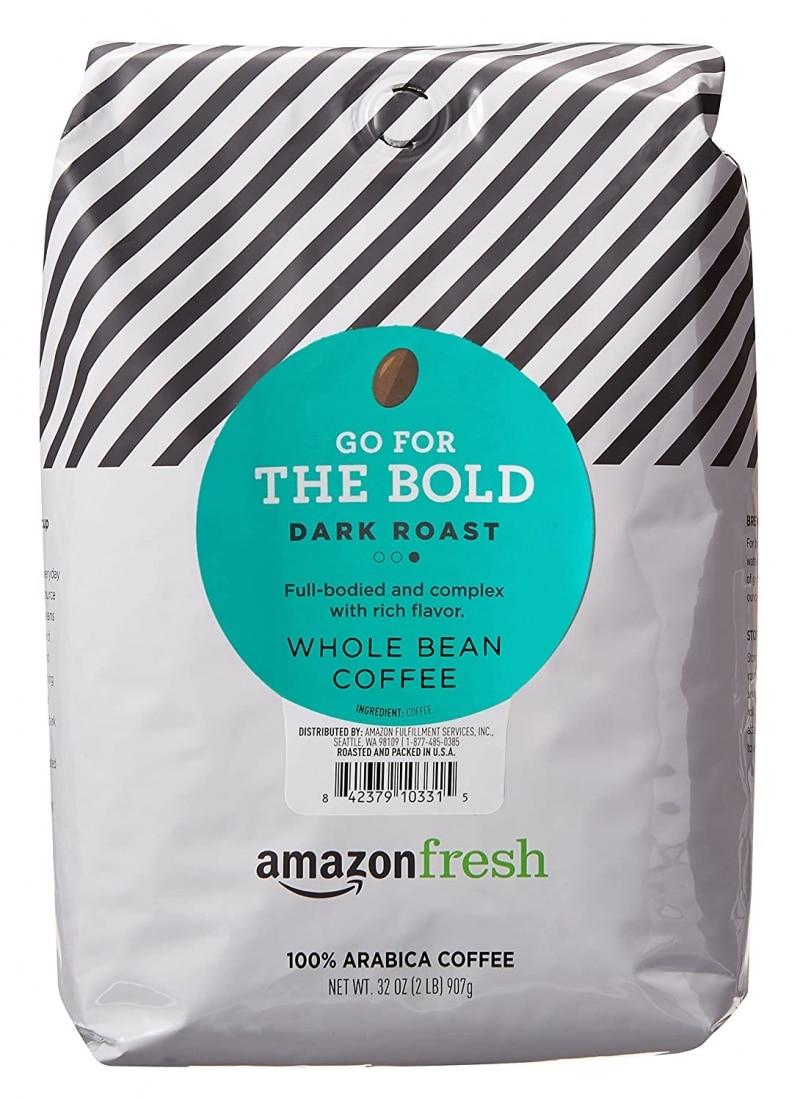 8.  Amazon Fresh Dark Roasted Whole Bean Coffee