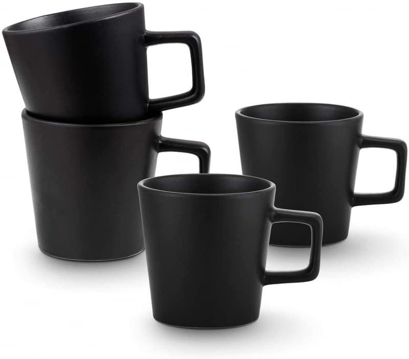 8. Matte Black Stone Lain Coffee Mugs Set