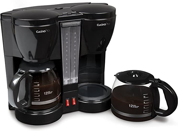 9. CucinaPro Double Coffee Brewer Station - Dual Coffee Maker Brews two 12-cup Pots, each with Individual Heating Elements