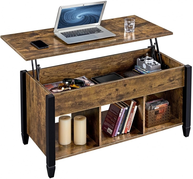 1. Yaheetech Lift Top Coffee Table with Storage