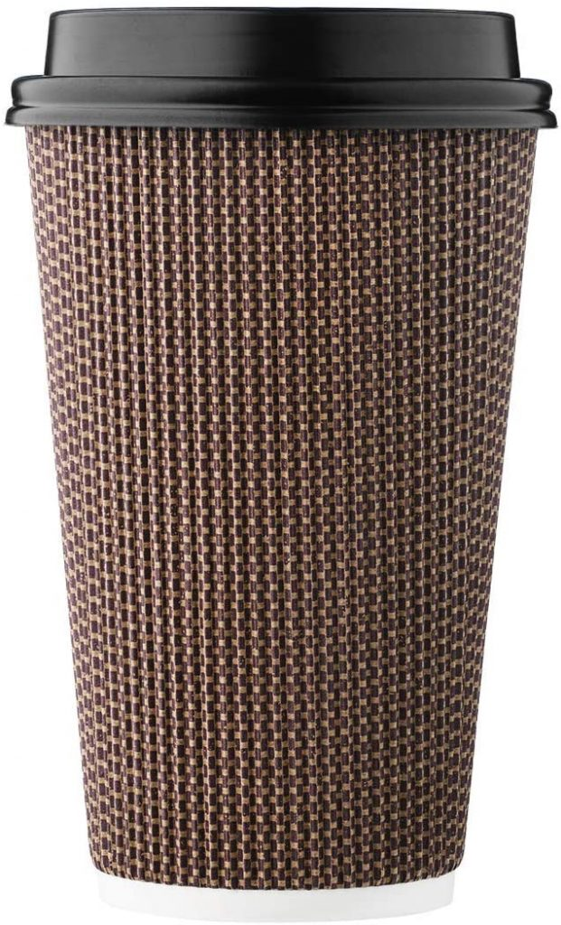 2. HARVEST PACK Superior Insulation Ripple Double-Walled Paper Cup with Lid
