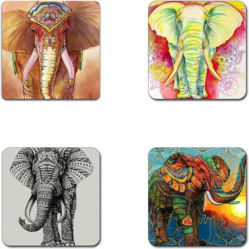 3. QJ CMJ Elephant Pattern Square Coaster Set