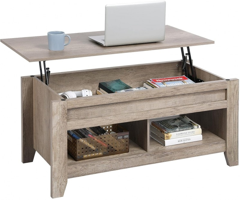 3. Yaheetech Lift Top Coffee Table with Storage